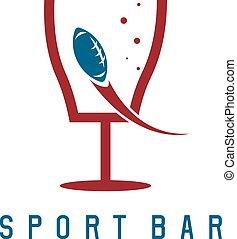 kugel, bar, fußball, amerikanische , vektor, design, schablone, tor, sport