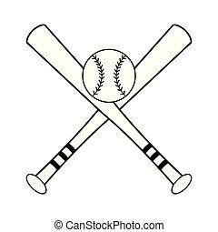 kugel, baseball, symbol, fledermäuse, gekreuzt, weißes, schwarz