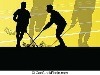 kugel, boden, abbildung, spieler, silhouetten, vektor, hintergrund, aktive, sport, kinder