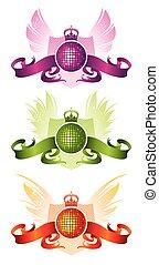 kugel, emblem, ritterwappen, disko, vektor, musikalisches