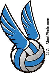 kugel, flügeln, volleyball