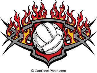 kugel, flamme, volleyball, schablone
