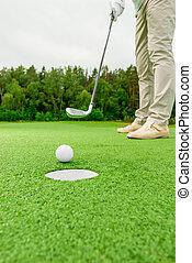 Kugel, Fokus, loch, golfspieler,  closeup, heraus