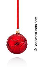 kugel, freigestellt, whi, rotes , dekorationen, hängender ,...