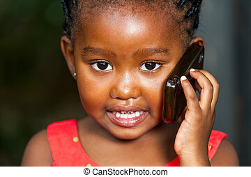 kugel, gesicht, zelle, sprechende , telefon., afrikanisch, m�dchen