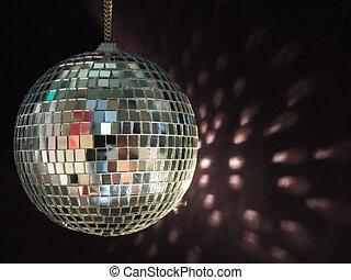 kugel, glänzend, reflexionen, disko