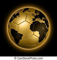 kugel, gold, erdball, fußball, welt, fußball