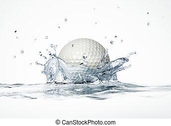kugel, golfen, formung, spritzen, krone, wasser, splash.,...