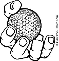 kugel, golfen, halten hand
