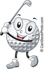 kugel, golfen, maskottchen