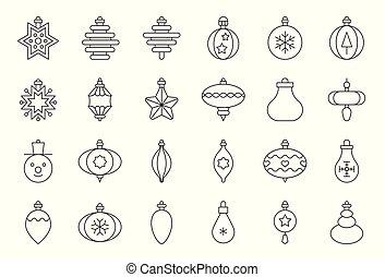 kugel, grobdarstellung, editable, 1, schlag, satz, verzierungen, weihnachten, ikone