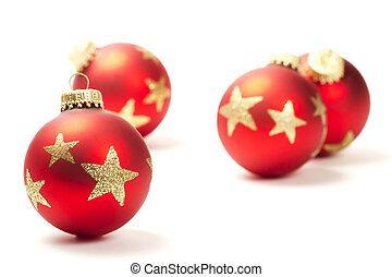 kugel, hintergrund, andere, front, weißes weihnachten, rotes