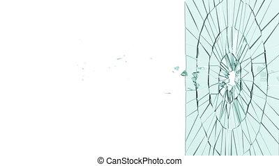 kugel, hole:, kaputte , glas., alpha