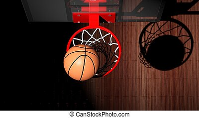 kugel, innenseite, ansicht, basketball, oberseite, band