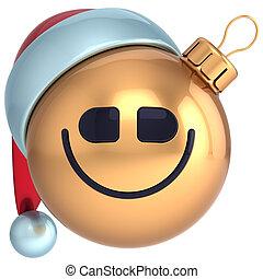 kugel, jahr, lächeln, neu , weihnachten, glücklich