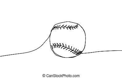 kugel, kontinuierlich, linie, abbildung, style., hintergrund., vektor, baseball, weißes, zeichnung