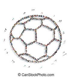 kugel, leute, sport, fußball, karikatur, form