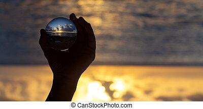 kugel, photographie, -, kristall, sonnenuntergang- strand