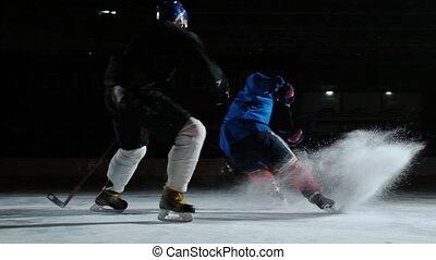 kugel, puck., zwei, eis, spielende , spieler, hockey, steadicam, kämpfen, rink., mann