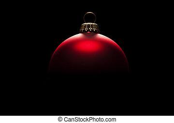 kugel, redchristmas, licht, schwarzer hintergrund, tempus