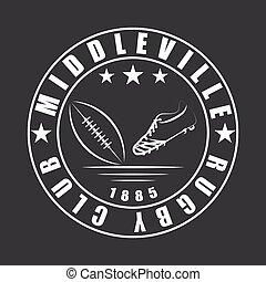 kugel, rugby, klub, fußballschuh, amerikanische , schablone, emblem, logo, oder