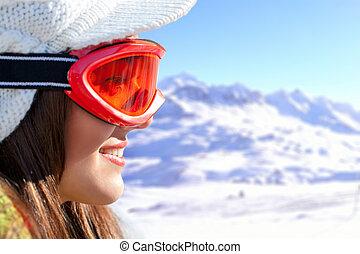 kugel, schnee, glasses., gesicht, weibliche , skier