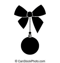 kugel, silhouette, dekoration, hängender , schleife, weihnachten