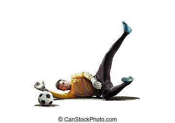 kugel, silhouette, freigestellt, eins, spieler, fangen, hintergrund, weißes, fußball, torwart, mann