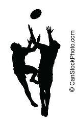 kugel, silhouette, fußball, -, hoch, springt, ertappen, rugby, sport