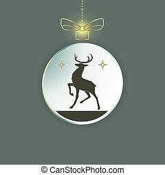 kugel, silhouette, spielzeug, innenseite, schleife, deer., weihnachten
