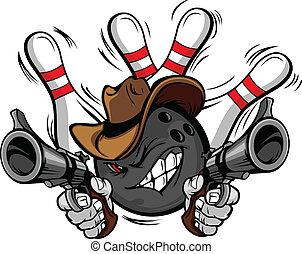 kugel, sportkegeln, cowboy, karikatur, shootout