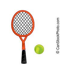 kugel, tennis, -, freigestellt, abbildung, karikatur, ausrüstung, hintergrund, schläger, weißes, kinder