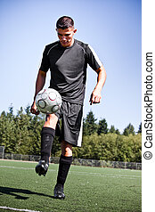 kugel, treten, footballspieler, spanisch, fußball, oder