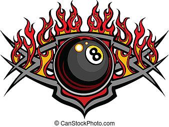 kugel, vektor, acht, billard, brennender