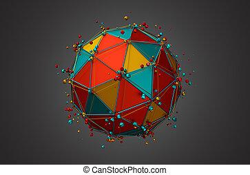 kugelförmig, übertragung, wireframe, particles.