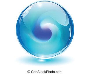 kugelförmig, 3d, kristall, vector., glas