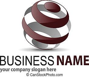kugelförmig, 3d, logo