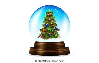 kugelförmig, baum, schnee, weihnachten