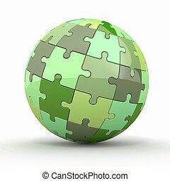 kugelförmig, erdball, puzzles., oder, 3d