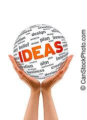 kugelförmig, ideen, halten hände