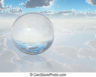 kugelförmig, kristall, landschaftsbild, surreal