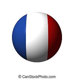 kugelförmig, mit, fahne, von, frankreich
