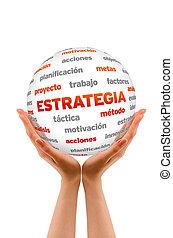 kugelförmig, strategie, wort, (in, spanish)