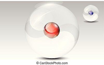 kugelförmig, vektor, durchsichtig, 3d