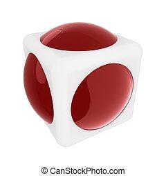 kugelförmig, würfel, design, 3d, element