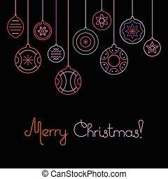kugeln, abbildung, vektor, frohe weihnacht, weihnachten