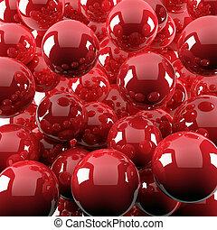 kugeln, abstrakt, hell, hintergrund, glänzend, rotes