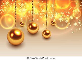 kugeln, hintergrund, weihnachten, gold