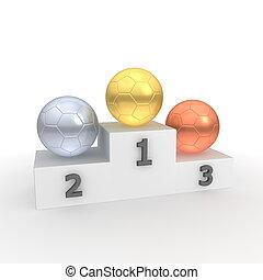 kugeln, klassisch, -, gold, podium, sieg, silber, bronze