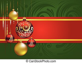 kugeln, rotes , gold, weihnachten